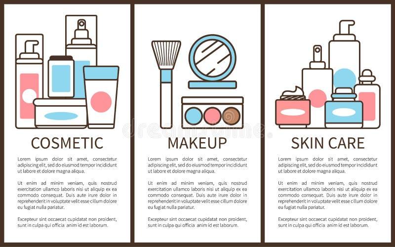 Cosmetico ed illustrazione di vettore di cura di pelle di trucco illustrazione di stock