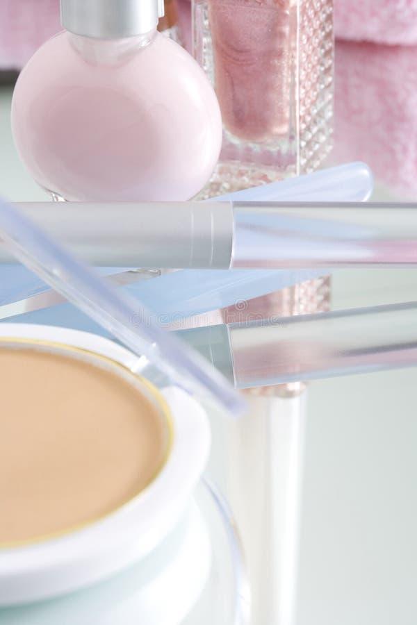 Cosmetics. GIRL'S IMAGE- close-up shot of various kinds of cosmetics stock photography