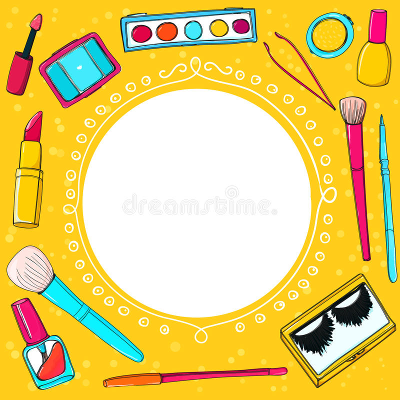Cosmetics background with make up tools royalty free illustration