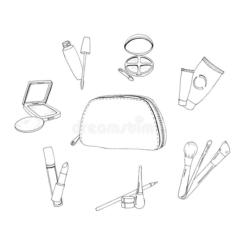 Cosmetics bag set in black and white vector illustration