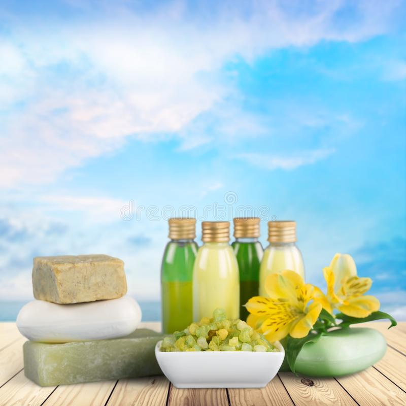 Cosmetics. Bar of soap nature spa treatment health spa bottle green royalty free stock image