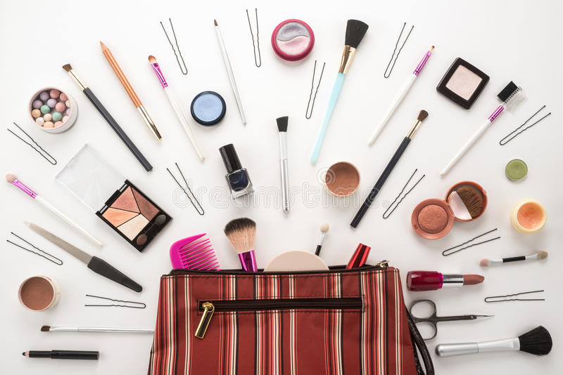 Cosmetics. Beautiful make up bag with cosmetics royalty free stock photography