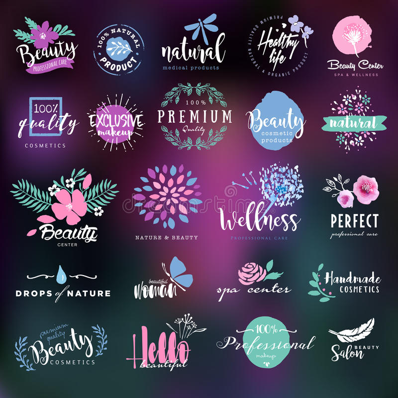 Cosmetics and beauty labels and badges collection. Set of hand drawn watercolor labels and badges for beauty, healthy life and wellness. Vector illustrations for royalty free illustration