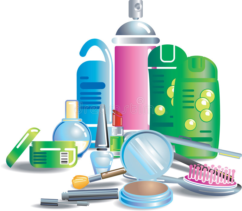 Cosmetics and beauty products. Illustration of cosmetics and other bathroom stuff. Each item or set on separate layer. No meshes used stock illustration