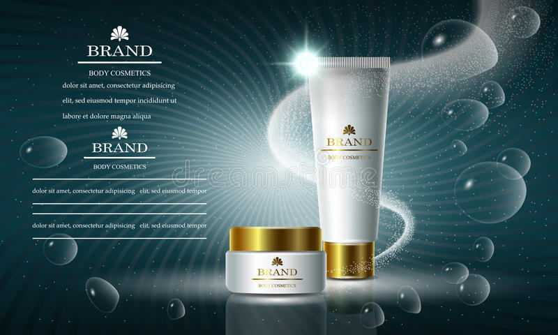 Cosmetics beauty series, ads of premium body cream for skin care. Template for design banners, vector illustration. Cosmetics beauty series, ads of premium body royalty free illustration