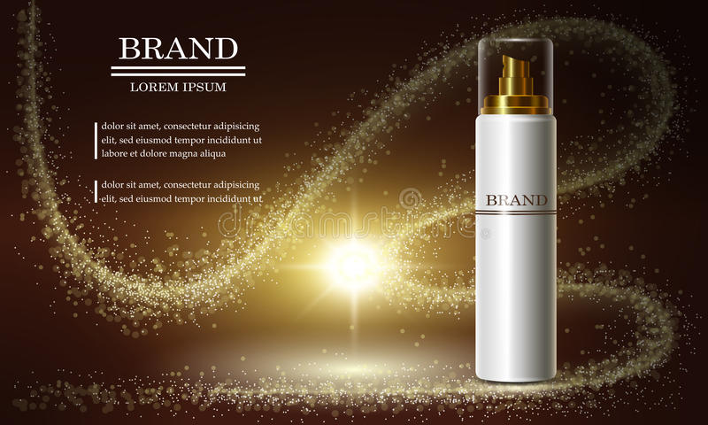 Cosmetics beauty series, ads of premium spray cream for skin care. Template for design banners, vector illustration. Cosmetics beauty series, ads of premium royalty free illustration