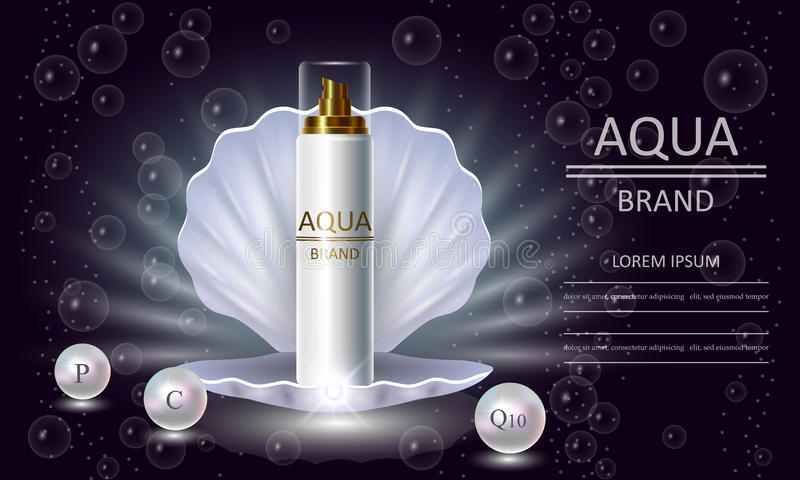 Cosmetics beauty series, premium body Pearl Spray packaging for skin care. Template for design banners, vector illustration. Cosmetics beauty series, premium stock illustration