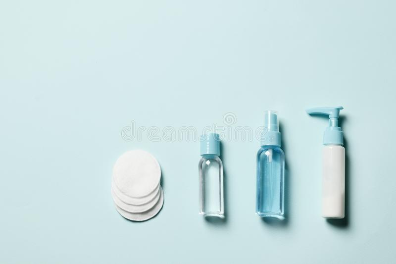 Cosmetics on a blue background royalty free stock photography