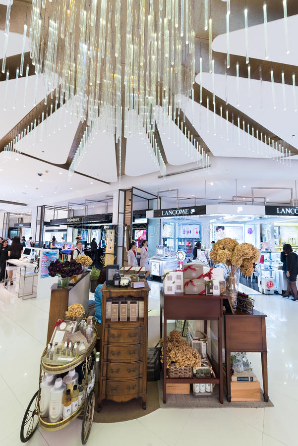 Cosmetics boutiques in Siam Paragon Mall, Bangkok City royalty free stock photography