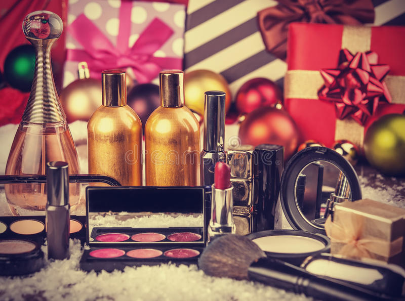 Cosmetics on christmas gifts royalty free stock image