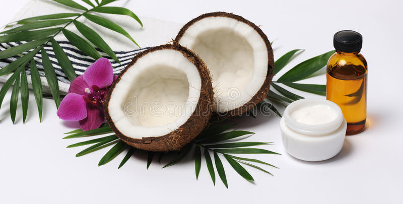 Cosmetics with coconut stock photography