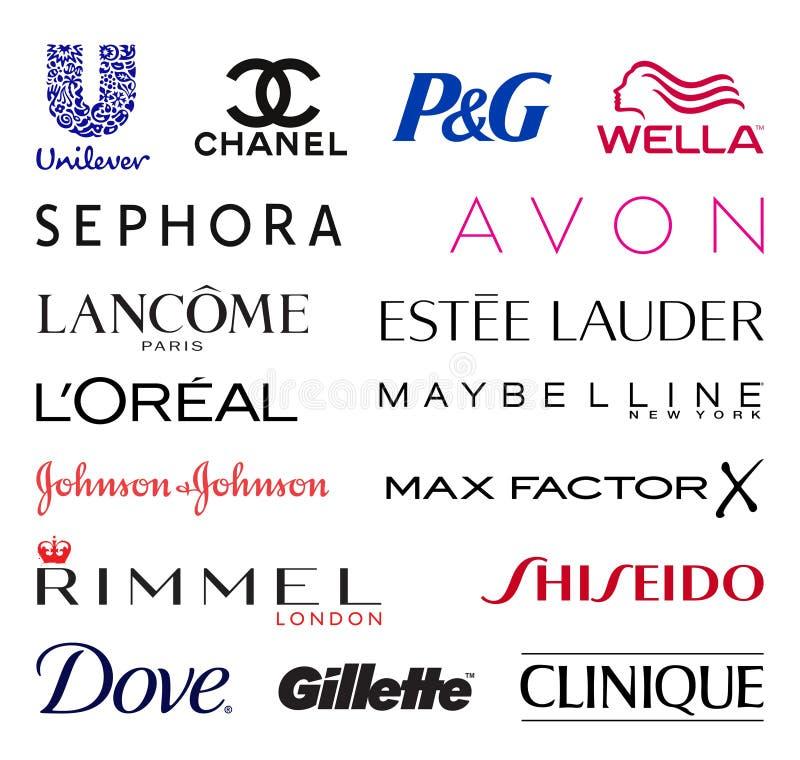 Cosmetics companies logos stock illustration