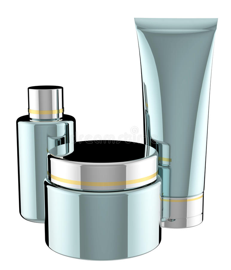 Cosmetics containers stock illustration