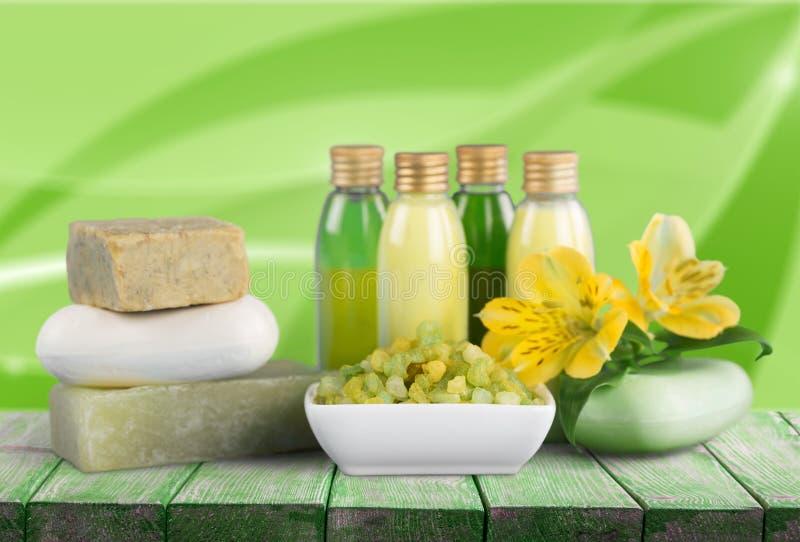Cosmetics. Bar of soap nature spa treatment health spa bottle green royalty free stock photos