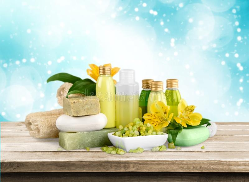 Cosmetics. Bar of soap nature spa treatment health spa bottle green stock photography