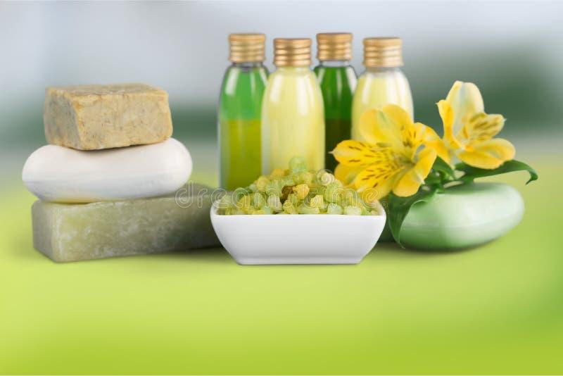 Cosmetics. Bar of soap nature spa treatment health spa bottle green royalty free stock photo