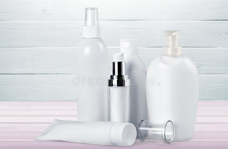 Cosmetics. Merchandise packaging bottle tube container laboratory royalty free stock photos