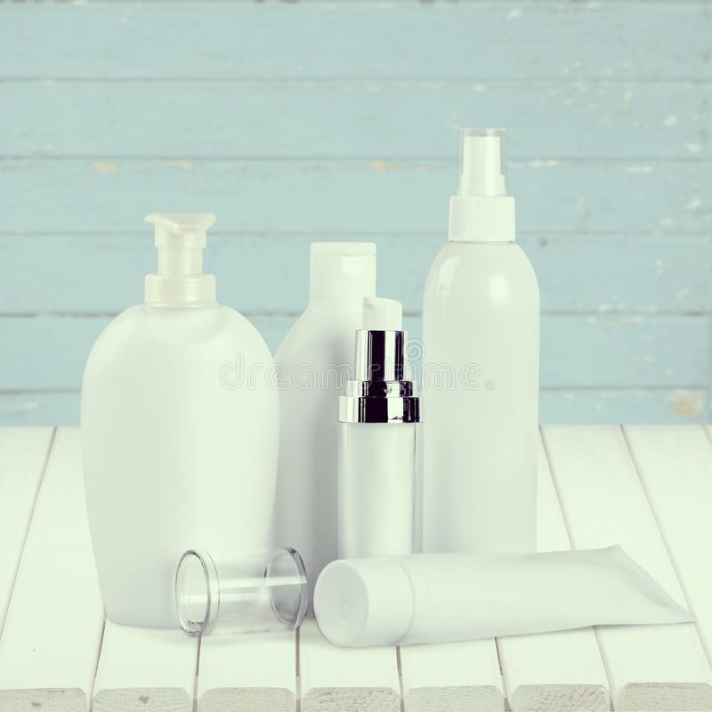 Cosmetics. Merchandise packaging bottle tube container laboratory royalty free stock image