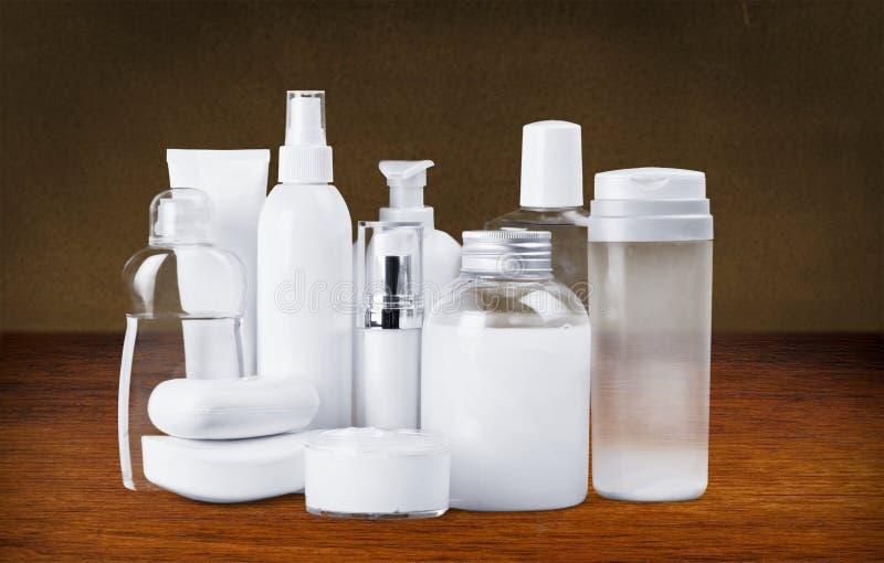 Cosmetics. Moisturizer bottle make-up spa treatment health spa stage makeup stock photo