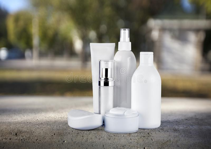 Cosmetics. Moisturizer bottle packaging beauty blank plastic royalty free stock images