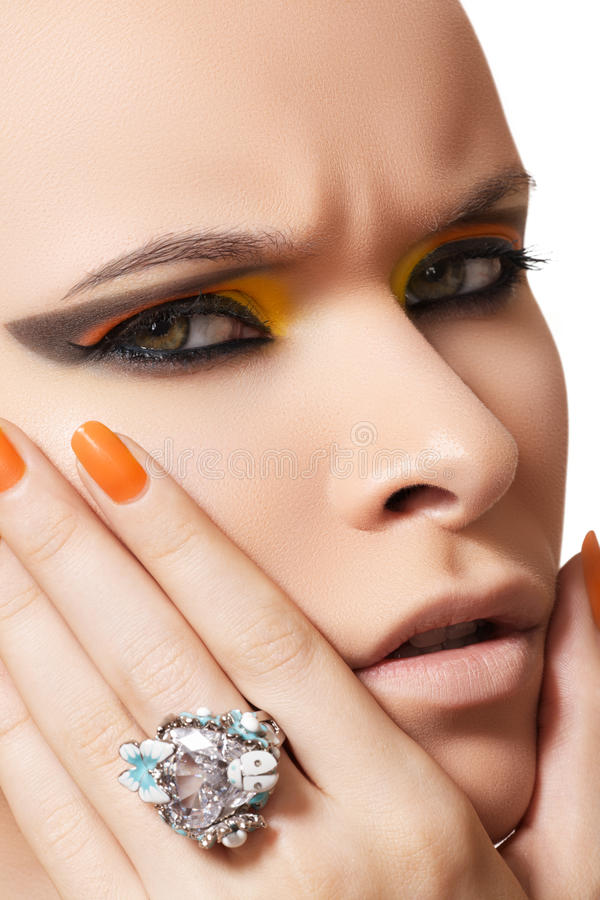 Cosmetics, fashion makeup, manicure & diamond ring stock photo