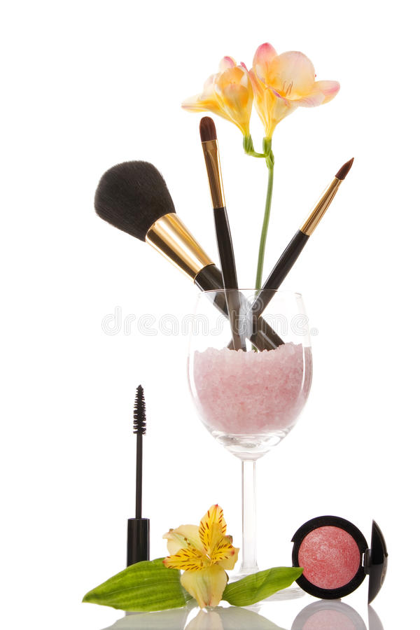 Cosmetics and flower, beauty concept royalty free stock photo