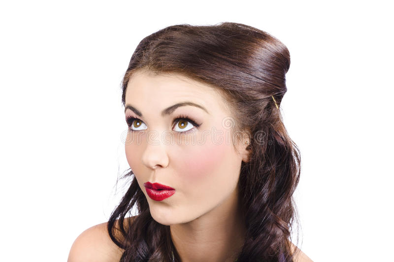 Download Cosmetics Girl Looking Up. Pinup Makeup Concept Stock Image - Image of caucasian, hairdo: 32341867