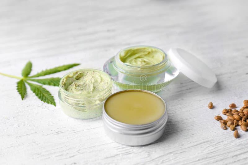 Cosmetics with hemp extract stock photos