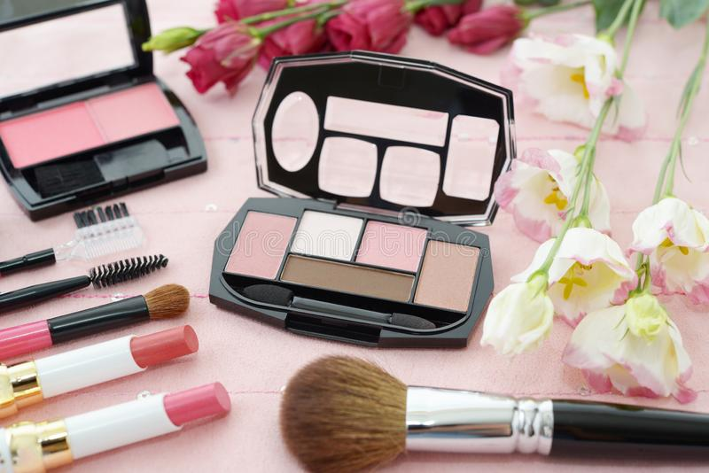 Cosmetics image. Decorative cosmetics on the dressing table royalty free stock photos