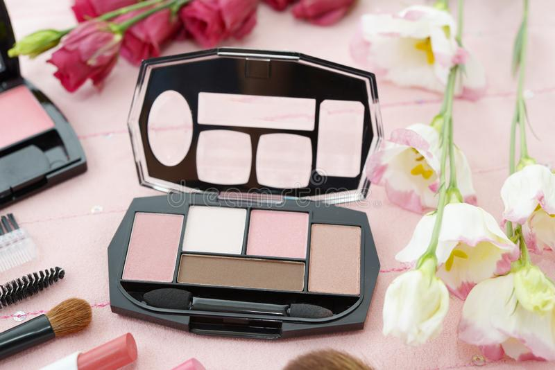 Cosmetics image. Decorative cosmetics on the dressing table stock images
