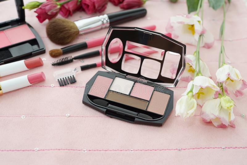 Cosmetics image. Decorative cosmetics on the dressing table royalty free stock photo