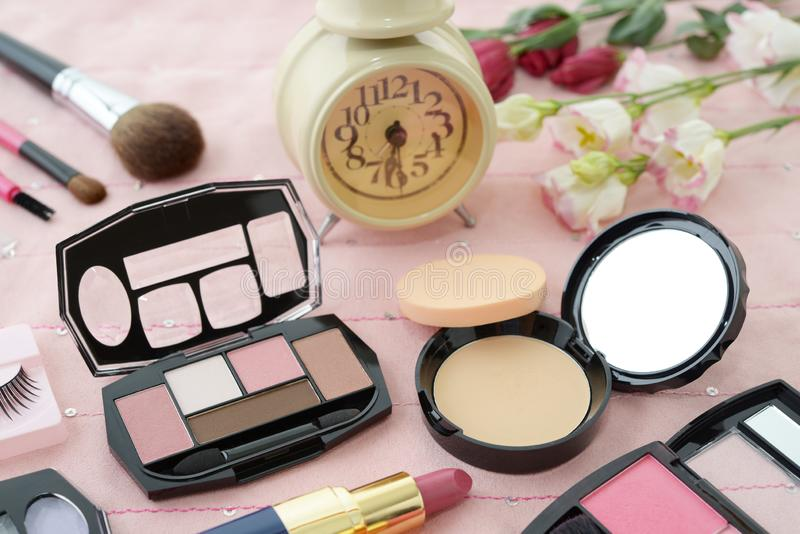 Cosmetics image. Decorative cosmetics on the dressing table stock photography