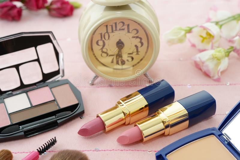 Cosmetics image. Decorative cosmetics on the dressing table royalty free stock image