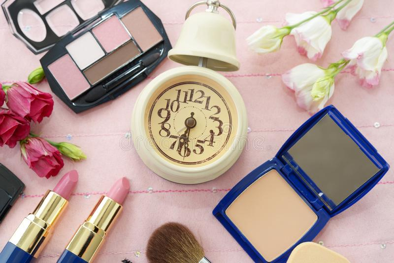 Cosmetics image. Decorative cosmetics on the dressing table royalty free stock images