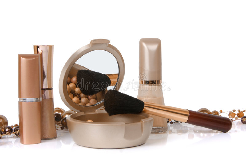Cosmetics isolated on white stock photography
