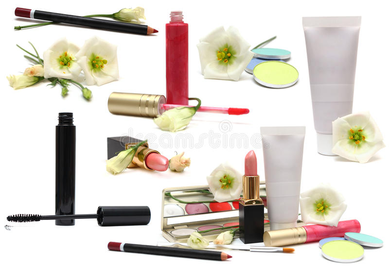 Cosmetics isolated on white - makeup set stock photography