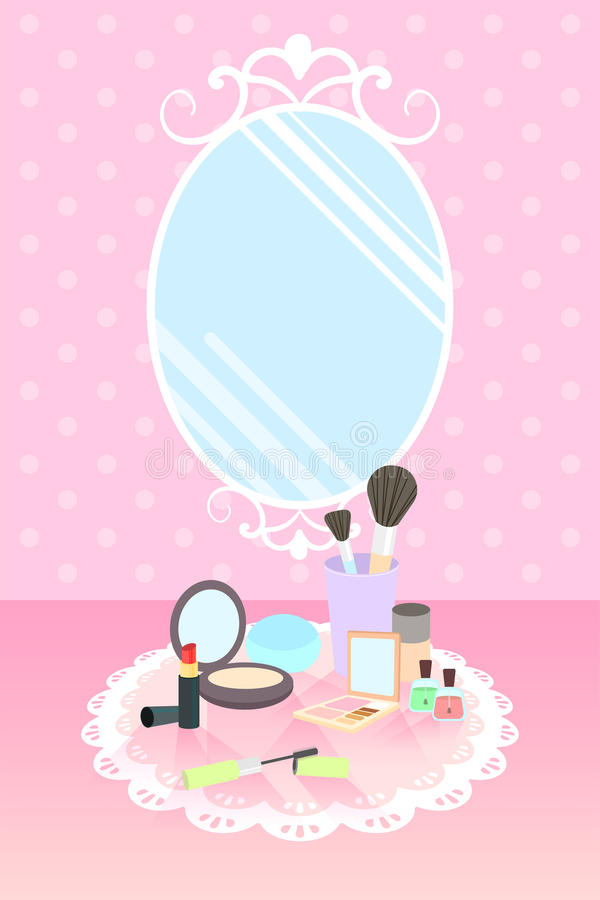 Cosmetics on lace mat and mirror on pink polka dot wallpaper stock illustration