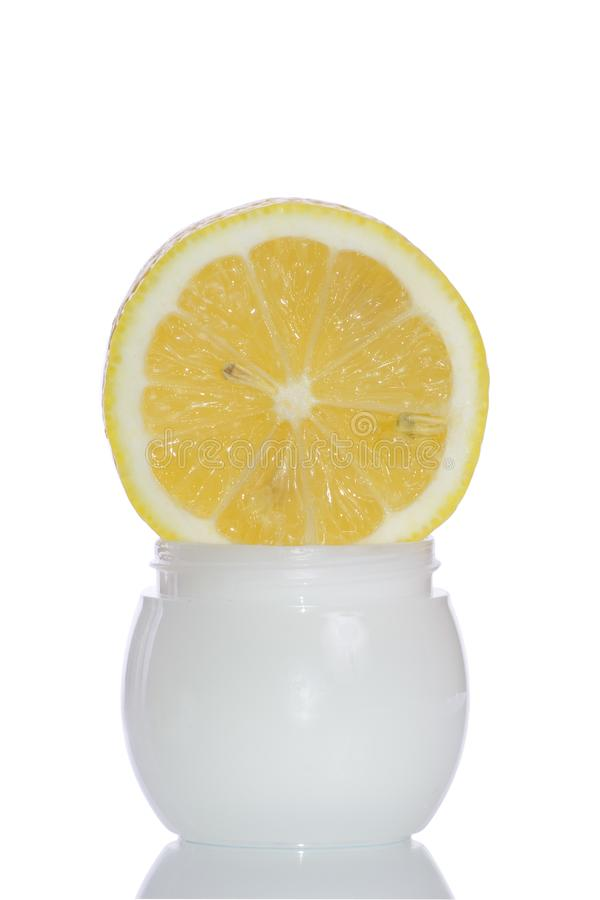 Cosmetics lemon cream stock photography