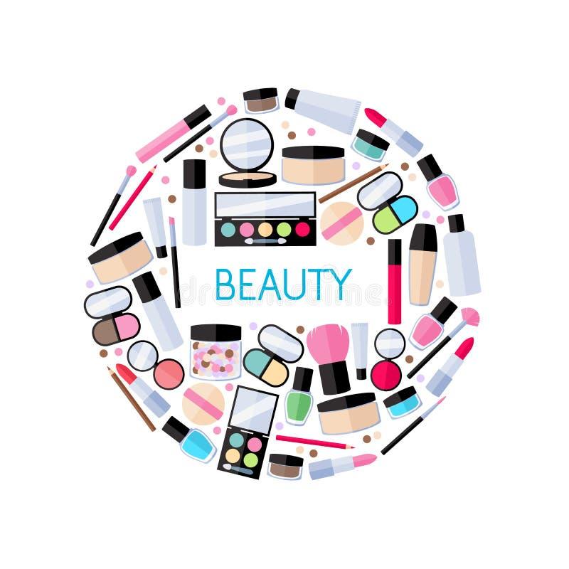 Cosmetics make-up beauty accessories illustration. Cosmetics make-up beauty accessories vector illustration. Lipstick eyeshadow lip gloss powder brush pencil
