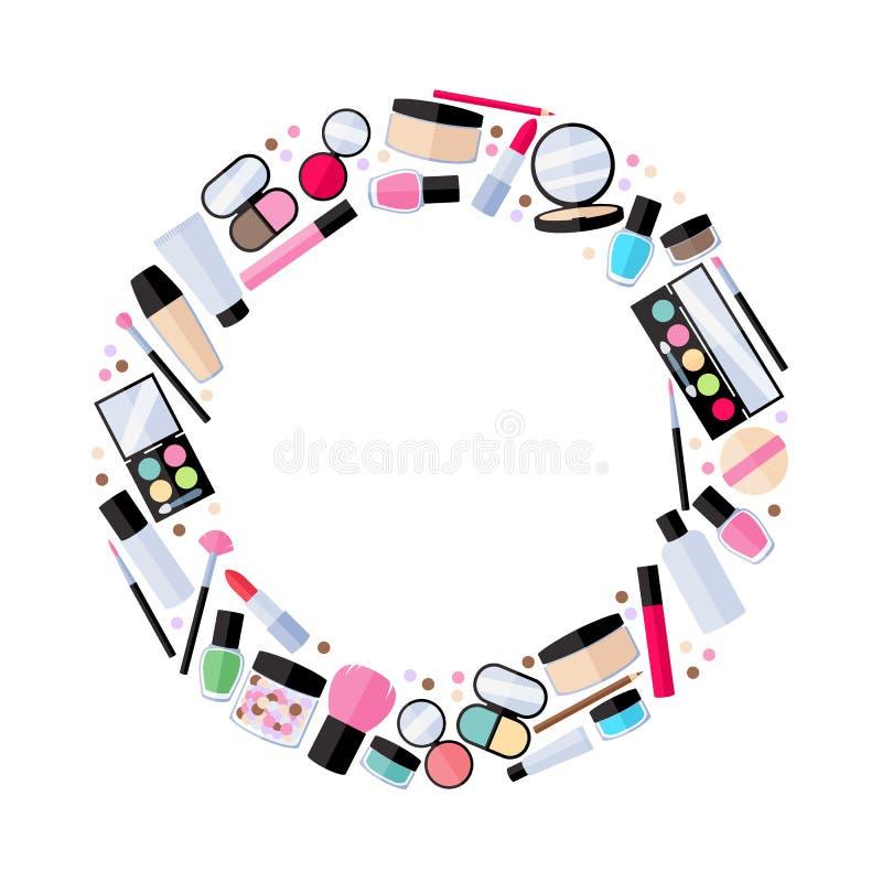 Cosmetics make-up beauty accessories illustration royalty free illustration