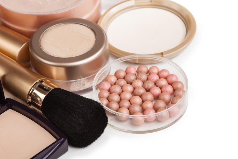 Cosmetics for make-up isolated on white background. Powder stock image