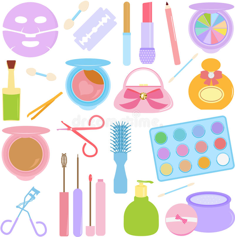 Cosmetics, Make-up in Pastel. A vector set of Cosmetics, Make-up in Pastel color