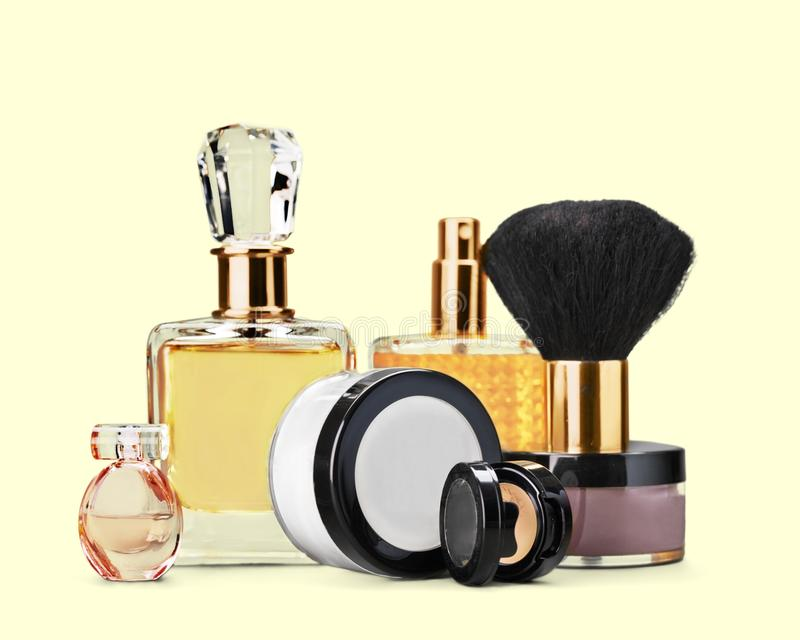 Cosmetics. Make-up perfume beauty personal accessory fashion make-up brush royalty free stock photos