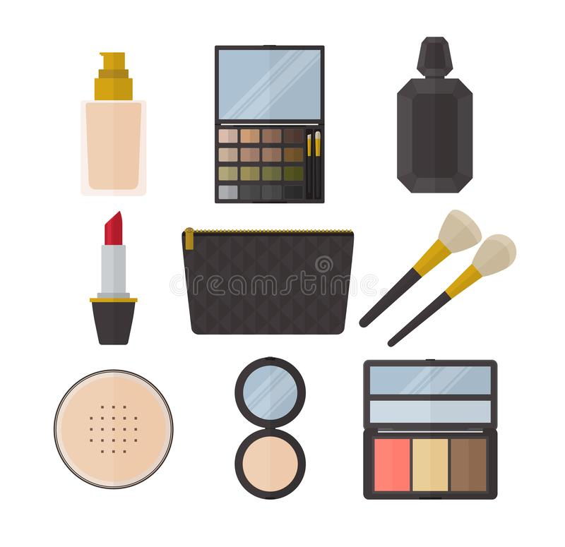Cosmetics make up skincare beauty product collection flat design silhouette icon logo vector illustration