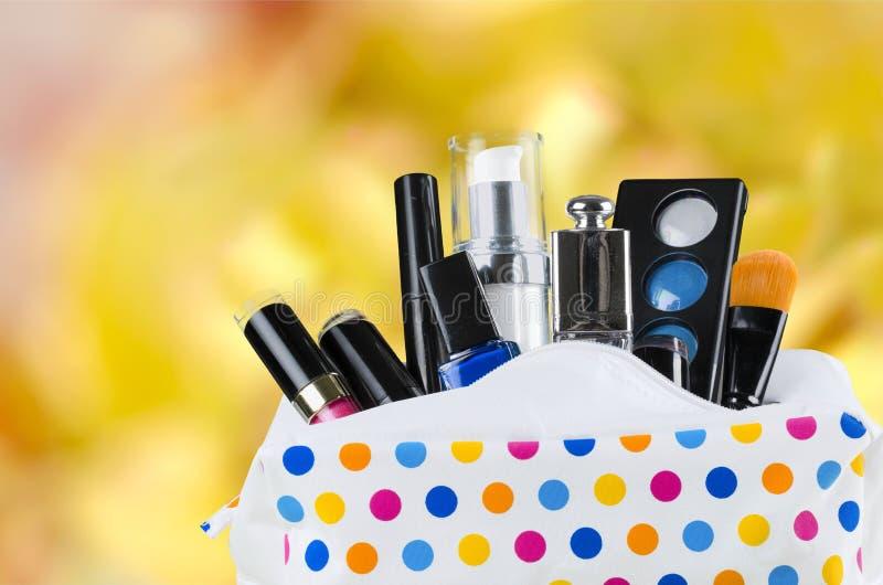 Cosmetics. Makeup bag bag make-up perfume merchandise beauty stock image