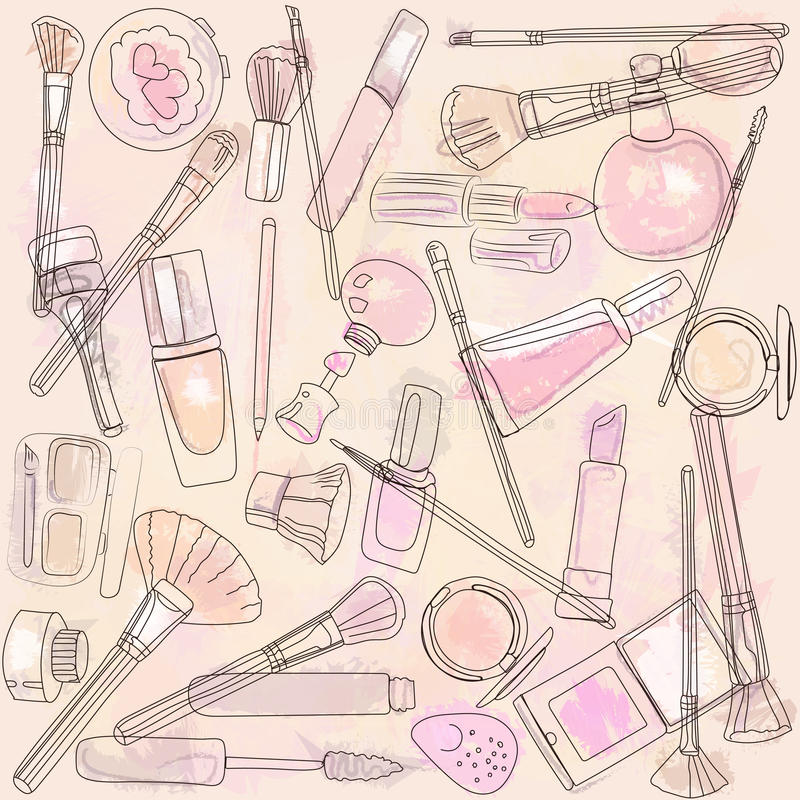 Cosmetics and makeup brushes. Vector beautiful mess of cosmetics and makeup brushes, creative process royalty free illustration