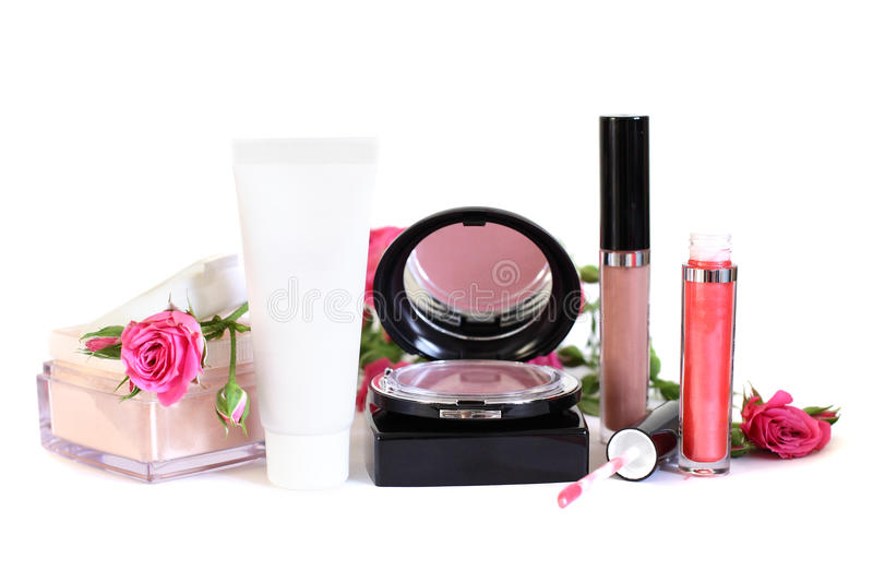 Cosmetics - makeup powder, cream, blush royalty free stock photography