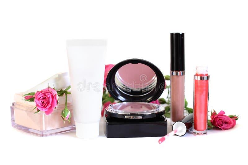 Cosmetics - makeup powder, cream, blush royalty free stock photography