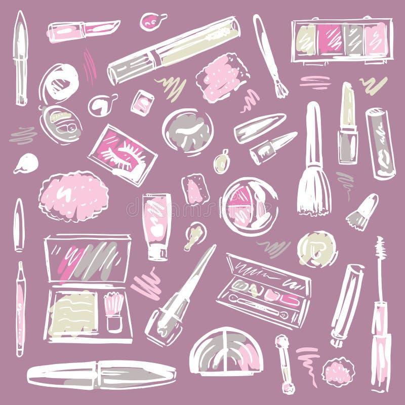 Cosmetics. Makeup set. stock illustration