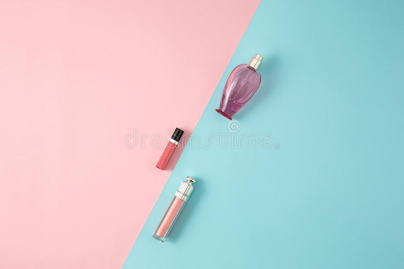 Cosmetics on modern colorful background stock photography